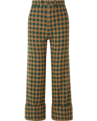 Sea Ethno Pop Checked Wool Blend Straight Leg Pants