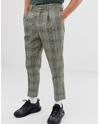 ASOS DESIGN Skinny Smart Trousers In Green Neppy Wool Check