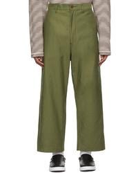 Junya Watanabe Green Cropped Wide Leg Trousers