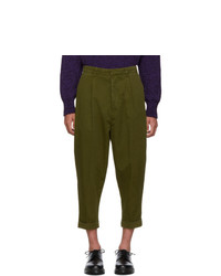 AMI Alexandre Mattiussi Green Oversized Carrot Trousers