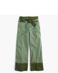 J.Crew Cropped Two Tone Chino Pant With Tie