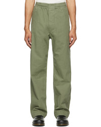 Mhl By Margaret Howell Khaki Compact Cotton Drill Trousers