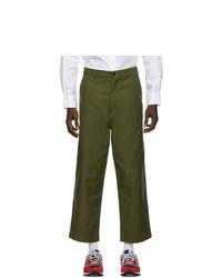 Comme des Garcons Homme Khaki Cotton Satin Trousers