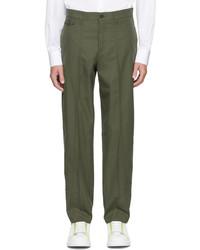 Alexander McQueen Khaki Gabardine Paneled Cropped Trousers