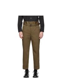 Neil Barrett Khaki Gabardine Slim Tube Trousers