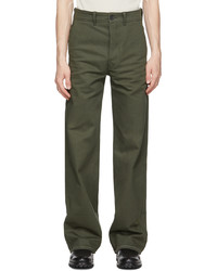 UNIFORME Khaki High Hems Contrasted Trousers