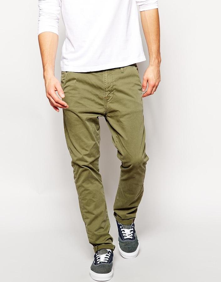 ... Chinos Nudie Jeans Khaki Slim Fit Leaf Green Wash