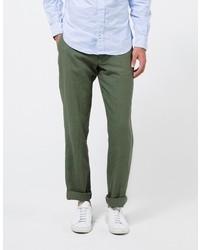 Apolis Linen Civilian Chino Pant In Olive
