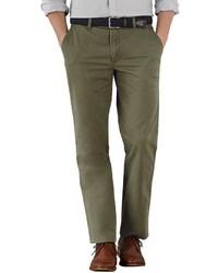 Charles Tyrwhitt Olive Slim Fit Flat Front Chinos