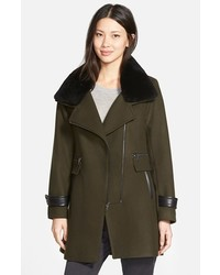 Aubree wool blend coat with detachable genuine shearling trim medium 443254