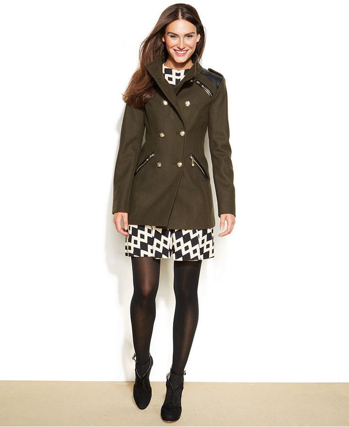 Vince Camuto Faux Leather Trim Double Breasted Military Coat ...