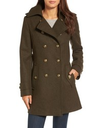 Wool blend skirted military coat medium 4953154