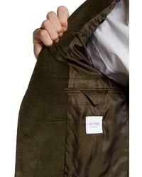 Spurr By Simon Spurr Olive Green Two Button Notch Lapel Slim Fit Corduroy Sport Coatn