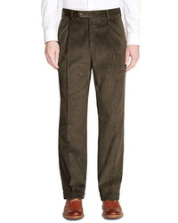 Berle Pleated Classic Fit Corduroy Trousers