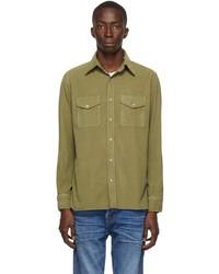 Tom Ford Khaki Gart Dyed Corduroy Shirt