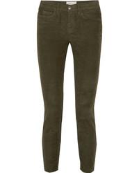 Current/Elliott The Stiletto Corduroy Skinny Pants Green