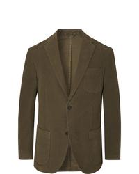 Altea Dark Green Slim Fit Cotton Blend Moleskin Suit Jacket