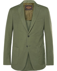 Tod's Green Slim Fit Cotton And Linen Blend Suit Jacket