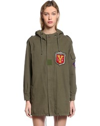 Hooded cotton twill parka w patches medium 3734311