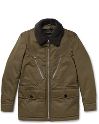 Tom Ford Shearling Trimmed Water Resistant Cotton Blend Parka