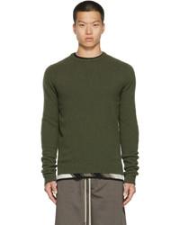 Rick Owens Green Cashmere Biker Crewneck Sweater