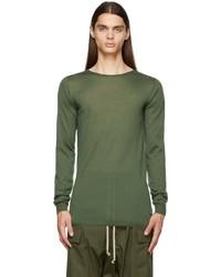 Rick Owens Green Cashmere Crewneck Sweater