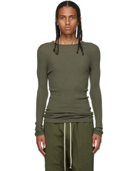 Rick Owens Green Cashmere Ribbed Sweater