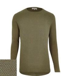 River Island Green Lightweight Textured Sweater