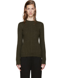 MM6 MAISON MARGIELA Green Ribbed Cut Out Sweater