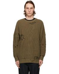 Neighborhood Khaki Oversized Ripped Sweater
