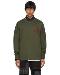 JW Anderson Khaki Red Anchor Crewneck Sweater