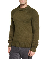 Michael Kors Michl Kors Textured Knit Crewneck Sweater Dark Green