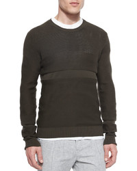 Vince Multi Stitch Crewneck Sweater Green