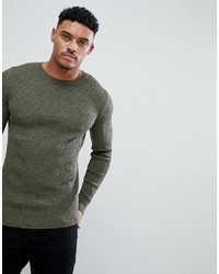 ASOS DESIGN Muscle Fit Ribbed Jumper In Khaki Twist