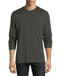 Vince Raw Edge Long Sleeve Crewneck T Shirt
