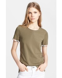 Burberry Brit Check Trim Tee Dusty Khaki X Large