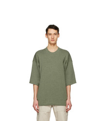 Kenzo Green Wool Tiger Crest T Shirt