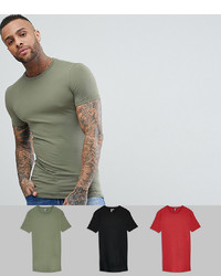 44128b4c ... ASOS DESIGN Longline Muscle Fit T Shirt With Crew Neck 3 Pack Save