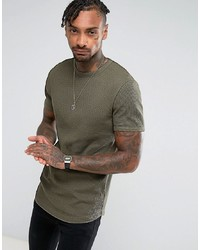 953df4ad ... ASOS DESIGN Longline Muscle Fit T Shirt With Curved Hem In Waffle In  Khaki