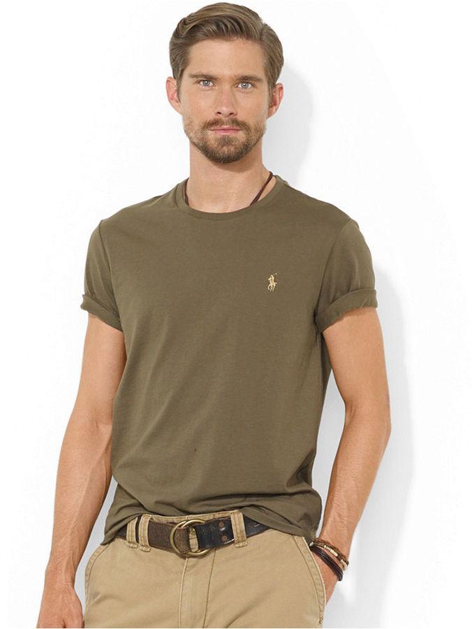 Polo ralph lauren crew neck t shirt cardigan with buttons for Ralph lauren polo jersey shirt
