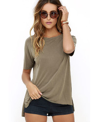 Right To Party Olive Green High Low Tee