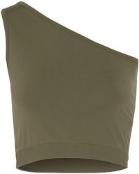 Helmut Lang One Shoulder Cropped Stretch Jersey Top Army Green
