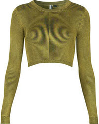 Topshop Olive Ribbed Knitted Crop Top With Long Sleeves 60% Viscose 40% Cotton Machine Washable