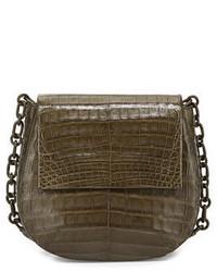 Nancy Gonzalez Round Flap Top Crocodile Crossbody Bag Army Green
