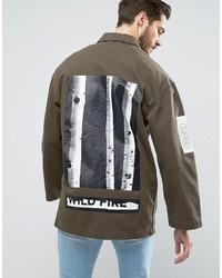 Denim worker jacket with print detail in khaki medium 3757228