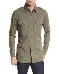 Olive Denim Shirt
