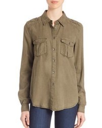 Paige Amita Army Button Down Shirt