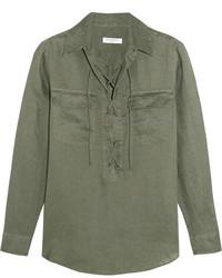 Equipment Knox Lace Up Linen Shirt Forest Green