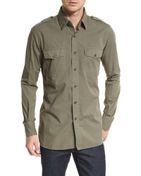 Tom Ford Military Style Washed Twill Sport Shirt Olive