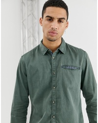 Esprit Slim Fit Structured Washed Denim Shirt In Olive